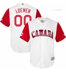 Mens Canada Baseball Majestic 00 Adam Loewen White 2017 World Baseball Classic Replica Team Jersey