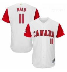 Mens Canada Baseball Majestic 11 Jonathan Malo White 2017 World Baseball Classic Authentic Team Jersey