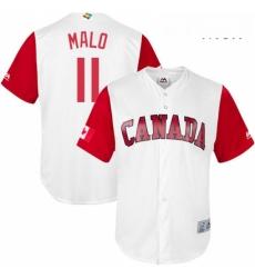 Mens Canada Baseball Majestic 11 Jonathan Malo White 2017 World Baseball Classic Replica Team Jersey