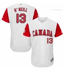 Mens Canada Baseball Majestic 13 Tyler ONeill White 2017 World Baseball Classic Authentic Team Jersey