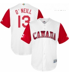 Mens Canada Baseball Majestic 13 Tyler ONeill White 2017 World Baseball Classic Replica Team Jersey