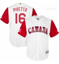 Mens Canada Baseball Majestic 16 Nick Pivetta White 2017 World Baseball Classic Replica Team Jersey