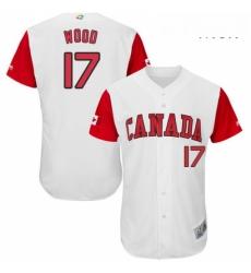 Mens Canada Baseball Majestic 17 Eric Wood White 2017 World Baseball Classic Authentic Team Jersey