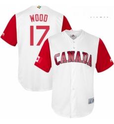 Mens Canada Baseball Majestic 17 Eric Wood White 2017 World Baseball Classic Replica Team Jersey