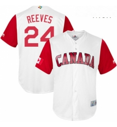 Mens Canada Baseball Majestic 24 Mike Reeves White 2017 World Baseball Classic Replica Team Jersey