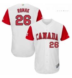 Mens Canada Baseball Majestic 26 Jamie Romak White 2017 World Baseball Classic Authentic Team Jersey