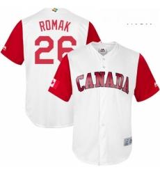 Mens Canada Baseball Majestic 26 Jamie Romak White 2017 World Baseball Classic Replica Team Jersey