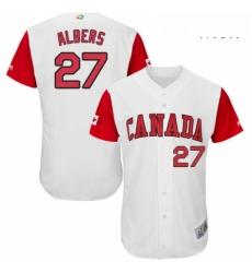 Mens Canada Baseball Majestic 27 Andrew Albers White 2017 World Baseball Classic Authentic Team Jersey
