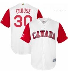Mens Canada Baseball Majestic 30 Michael Crouse White 2017 World Baseball Classic Replica Team Jersey