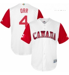 Mens Canada Baseball Majestic 4 Pete Orr White 2017 World Baseball Classic Replica Team Jersey