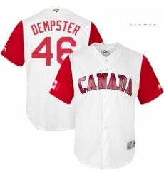 Mens Canada Baseball Majestic 46 Ryan Dempster White 2017 World Baseball Classic Replica Team Jersey