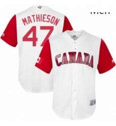 Mens Canada Baseball Majestic 47 Scott Mathieson White 2017 World Baseball Classic Replica Team Jersey