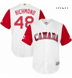 Mens Canada Baseball Majestic 48 Scott Richmond White 2017 World Baseball Classic Replica Team Jersey