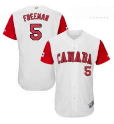 Mens Canada Baseball Majestic 5 Freddie Freeman White 2017 World Baseball Classic Authentic Team Jersey