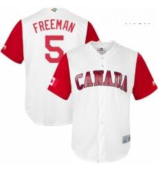 Mens Canada Baseball Majestic 5 Freddie Freeman White 2017 World Baseball Classic Replica Team Jersey