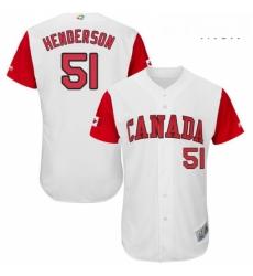 Mens Canada Baseball Majestic 51 Jim Henderson White 2017 World Baseball Classic Authentic Team Jersey