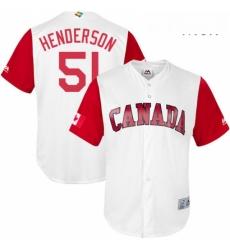 Mens Canada Baseball Majestic 51 Jim Henderson White 2017 World Baseball Classic Replica Team Jersey