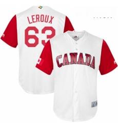 Mens Canada Baseball Majestic 63 Chris Leroux White 2017 World Baseball Classic Replica Team Jersey