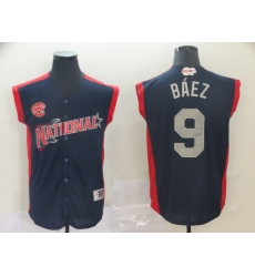 National League 9 Javier Baez Navy 2019 MLB all star Game Workout Player Jersey