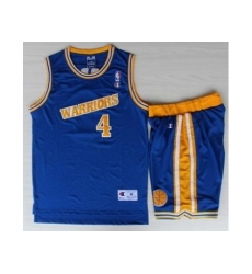 Golden State Warriors 4 Chris Webber Blue Hardwood Classics NBA Jerseys Shorts Suits