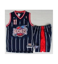 Houston Rockets 11 YAO Blue Hardwood Classics Revolution 30 NBA Jerseys Shorts Suits
