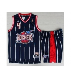 Houston Rockets 4 Charles Barkley Blue Hardwood Classics Revolution 30 NBA Jerseys Shorts Suits