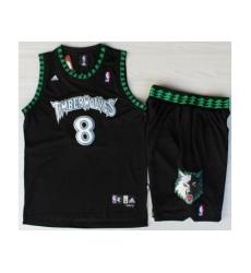 Minnesota Timberwolves 8 Latrell Sprewell Black Swingman NBA Jerseys Short Suits