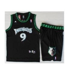 Minnesota Timberwolves 9 Ricky Rubio Black Swingman NBA Jerseys Short Suits