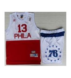 Philadelphia 76ers 13 Wilt Chamberlain White Red NBA Jerseys Short Suits