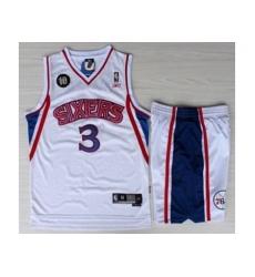 Philadelphia 76ers 3 Allen Iverson White 10th Throwback M&N Soul Swingman NBA Jersey Short Suits