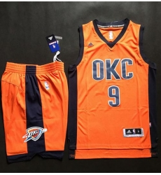 Thunder #9 Serge Ibaka Orange Alternate A Set Stitched NBA Jersey