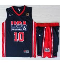 USA Basketball 1992 Olympic Dream Team Blue Jerseys & Shorts Suits 10# Clyde Drexler