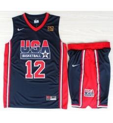 USA Basketball 1992 Olympic Dream Team Blue Jerseys & Shorts Suits 12# John Stockton