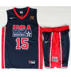 USA Basketball 1992 Olympic Dream Team Blue Jerseys & Shorts Suits 15# Magic Earvin Johnson