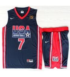 USA Basketball 1992 Olympic Dream Team Blue Jerseys & Shorts Suits 7# Larry Bird