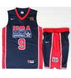 USA Basketball 1992 Olympic Dream Team Blue Jerseys & Shorts Suits 9# Michael Jordan