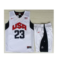 USA Basketball #23 Kyrie Irving White Jersey & Shorts Suit