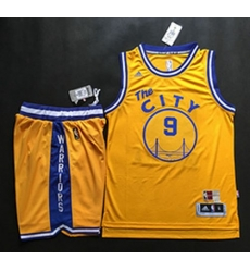Warriors #9 Andre Iguodala Gold Throwback The City A Set Stitched NBA Jersey
