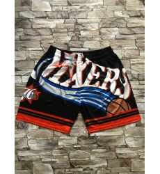 76ers Yellow Black Big Face With Pocket Swingman Shorts