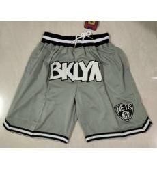 Men Brooklyn Nets Grey Just Don Swingman Throwback Shorts