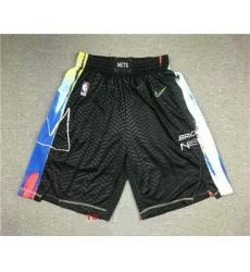 Men Brooklyn Nets NEW Black 2021 City Edition Swingman Stitched NBA Shorts