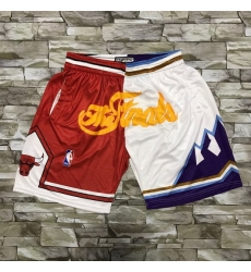 Men Chicago Bulls and Utah Jazz Red With White 1997 The Finals Patch Split Hardwood Classics Soul Swingman Throwback Shorts