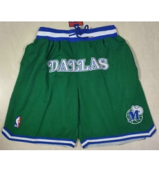 Men Dallas Mavericks Green Just Don Swingman Throwback Shorts