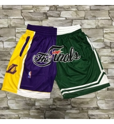 Men Los Angeles Lakers and Boston Celtics Purle With Green 2008 The Finals Patch Split Hardwood Classics Soul Swingman Throwback Shorts