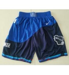 Men Milwaukee Blue Nike 2021 Swingman Stitched NBA Shorts