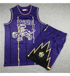 Raptors 1 Tracy McGrady Purple 1998 99 Hardwood Classics Jersey 28With Shorts 29