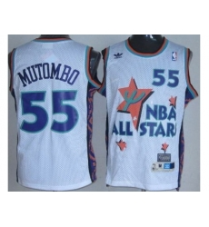 Denver Nuggets 55 Dikembe Mutombo White 95 All Star NBA Jerseys
