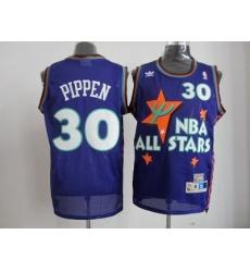 NBA Chicago Bulls 95 All Star #30 Pippen Purple Jerseys