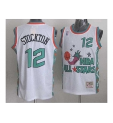 NBA 96 All Star #12 Stockton White Jerseys