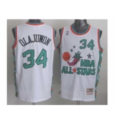 NBA 96 All Star #34 Olajuwon White Jerseys